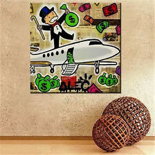 Alec Monopoly Fairey MODERN ABSTRACT Oil Painting on Canvas Handcraft Airplane