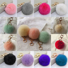 Rabbit Fur Ball PomPom Cell Phone Car Keychain Pendant Handbag Cute Key Ring 1C5