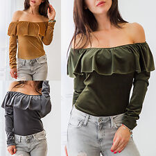 WOMEN FASHION OFF SHOULDER BOAT NECK LONG SLEEVE SEXY T-SHIRT BLOUSE HONEST GIFT