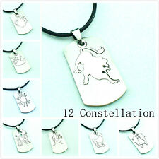 1pc Stainless Steel 12 Constellation Tag Pendant Leather Chain Choker Necklace