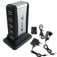 USB 7-Port HUB Powered +AC Adapter Cable High-Speed BLLT