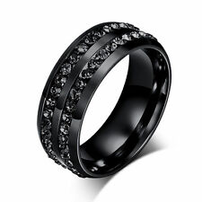 8mm Black CZ Band Men's Jewellery 316L Stainless Steel Engagement Ring Size 6-12