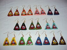 Hand Painted Wooden Narrowboat Art, Barge Ware,Canal ,Folk Triangular Earrings
