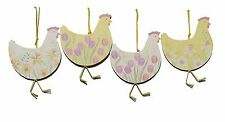 Gisela Graham Easter Hen Chick Tulips Daffodils Hanging Decoration