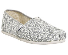 Womens Toms Seasonal Classic Slip On SILVER CROCHET GLITTER Flats