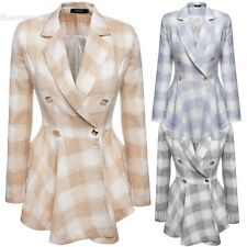 Fashion Ladies Plaid Double-Breasted Flouncing Coat Casual Outerwear BLLT
