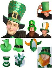 IRISH LEPRECHAUN HAT WITH BEARD ST PATRICK'S DAY FANCY DRESS SHAMROCK VELOUR CAP
