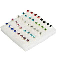 Fashion 1 Box of 20 Pairs Clear Crystal Ear Studs Earrings Allergy set New RX