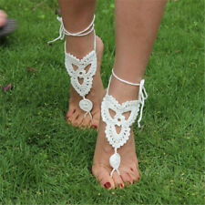 Wedding Bridal Crochet Barefoot Anklet Knit Anklet Sandals Beach Foot Jewelry