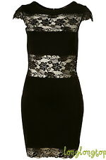 TOPSHOP DRESS UP BLACK BODYCON LACE PANEL WIGGLE PENCIL PARTY DRESS