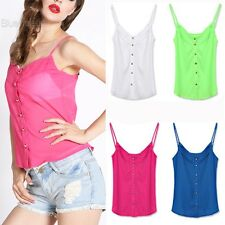 Candy Color Sexy Blouse Shirts Chiffon Blouse Spagetti Strap Vest Tops New BLLT