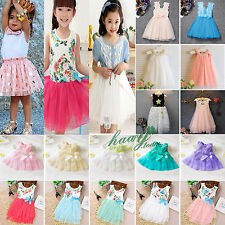 Toddler Kids Girls Mesh Tulle Skater Dress Princess Flower Pageant Wedding Party