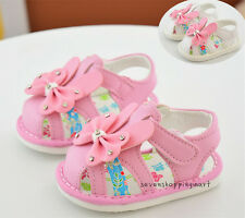 New Cute Infant Baby Girls Summer Shoes Bowknot Soft Flats Sandals Size 3-5