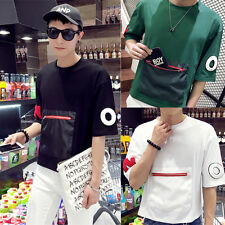 Mens Summer Casual Black Slim O-Neck T-shirt Short Sleeve Tops Pullover Tee G