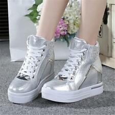 Hot Womens Shoes Hi Top Chic Sneakers Platform Wedge Ankle Boots High Heels new