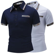 Men Fashion Short Sleeve Spring Button V-neck Solid Casual T-shirt Tops Tee G