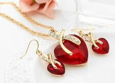 Crystal Heart Pendant Women Gold Plated Necklaces Chain Choker Pendant & Earring