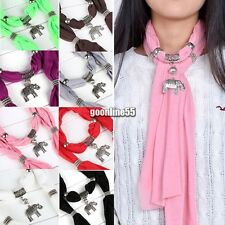 Necklace Scarves Charm Ring Jewelry Alloy Elephant Pendant Scarf Vintage EA9