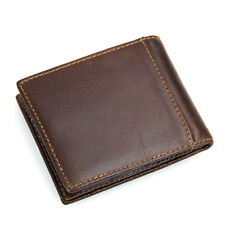 Mens Purse Real Genuine Leather Short Wallet Male Small Bifold ID Credit Card