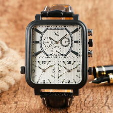 V6 Black Leather Band Three Time Zone Rectangle Army Men Quartz Wrist Watch Gift