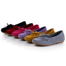 New Women Bow Knot Moccasin Suede Slippers Slip On Round Toe Flat Shoes Loafers