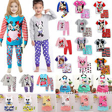Boys Girls 2Pcs T-shirt Tops+Pants Outfit Kids Clothes Casual Pajamas Mickey Set