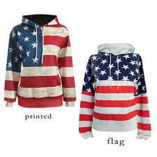 American Flag Print Women Hoodie Ladies Casual Sweater Top Sport Pullover Jumper