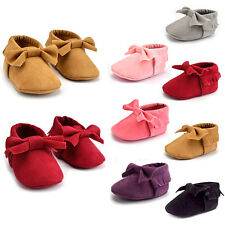 Newborn Baby Girls Bow Anti-slip Leather Crib Shoes Soft Sole Sneakers Prewalker