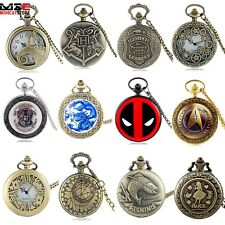Full Hunter Stainless Steel Steampunk Vintage Pocket Watch Quartz Necklace Chain