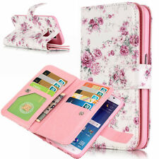 Floral Case Wallet Leather Cover Magnetic Flip 9 Card Slots For Samsung Galaxy S
