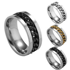 316L Stainless Steel Gold Silver Black Cuban Chain Spinning Band Ring Size 6-12