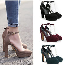 Sexy Lady's New Chunky High Heels Shoes Ankle Strap Platform Women Sandals Pumps