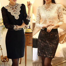 Women's Clothing Long Sleeve Lace Tops Shirt Blouse Ladies Korean Fashion S-2XL