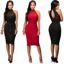 Women Sexy Rhinestone Off Shoulder See Through Bodycon Evening Party Club Dress