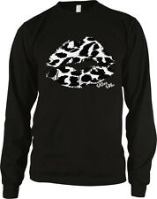 Lips Lipstick White Black Leopard Print Kiss Me Marilyn Sexy Hot Men's Thermal