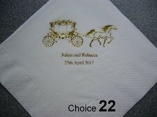100 Personalised Wedding Napkins 2 more NEW Designs added
