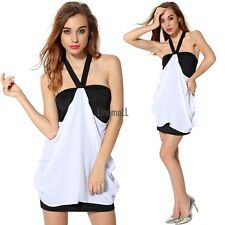 Women Halter V Neck Dress Sexy Backless Package Hip Chiffon Mini Dress LM