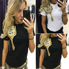 Summer Women Casual O-Neck T-shirt Short Sleeve Letter Print Top Blouse Sexy G