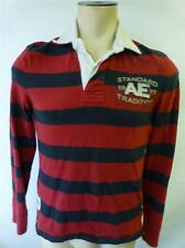 AMERICAN EAGLE AE #7 long sleeve polo rugby Shirt red blue striped mens sz Small