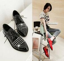 Punk Womens Lace Up Rhinestone Studded Pointed Toe Flats Fashion Shoes Sz Y257