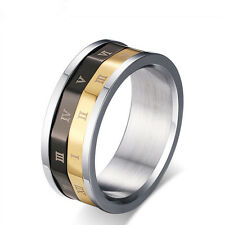 Roman Numerals Rotatable Lucky Band Stainless Steel Men's Fashion Ring Size 6-11