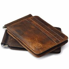 New Men's Leather Bifold Wallet Reto Money Clip Purse Card Holder Cowhide Clutch
