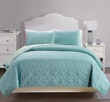 USEFUL 3 PCS REVERSIBLE SOLID BEDSPREAD QUILT SET - CAL.KING/KING/QUEEN SIZE