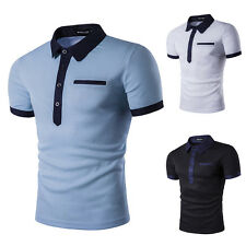 Fashion Men's T-shirt Concise Lapel Short Sleeves Multipurpose Patchwork Shirt G