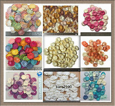 100 X Mulberry Daisy Paper Flowers Embellishment Cardmaking Scrapbooking size 1""