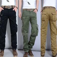 Hot new Mens Military Cargo Pocket Pants overall cotton Leisure Trousers Size YT