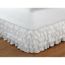 One Qty Ruffle Bed Skirt Egyptian Cotton 1000 TC White Solid Drop 15 Inch