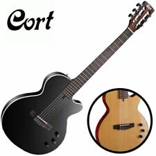 "Cort Sunset Nylectric Nylon Electric Guitar 45MM 1 3/4"" Black Natural Classical"