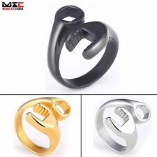 Biker Motorcycle Mechanic Wrench Tool Pattern Mens Stainless Steel Ring Band New