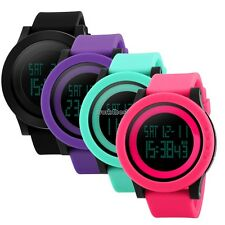 Men Women Unisex LED Digital Wristwatch Pedometer Large Dial Outdoor Wrist WST